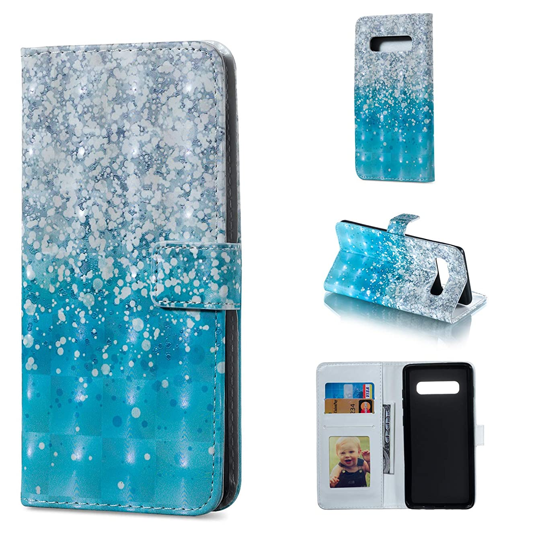 Galaxy S10+ Case, for [S10+], S10 Plus Cover, MerKuyom [Kickstand] Premium PU Leather Wallet Pouch Flap Flip Cover Case +Stylus for Samsung Galaxy S10+ / Galaxy S10 Plus (Blue Spots Pattern)