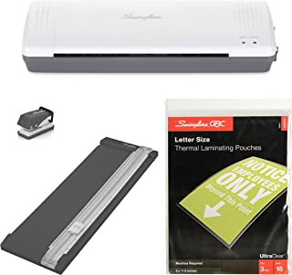 Swingline Lamination Starter Kit, Inspire Laminator, Pouches, Trimmer, Mini Hole Punch Included (1701869ECR)