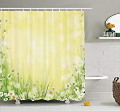 Ambesonne Flower House Decor Collection, Natural Field Wildflowers Sunshine Grass Springtime Blurred Image Print, Polyester Fabric Bathroom Shower Curtain, 84 Inches Extra Long, Yellow Green White