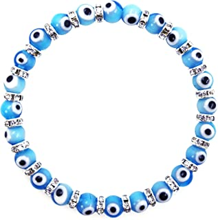 Turkish Evil Eye Murano Glass Bead Stretch Bracelet with Crystal Spacers for Protection and Good Luck