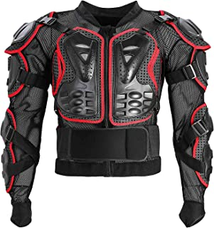 Motorcycle Full Body Armor Protective Jacket ATV Guard Shirt Gear Jacket Armor Pro Street Motocross Protector with Back Protection Men Women for Off-Road Racing Dirt Bike Skiing Skating Red M