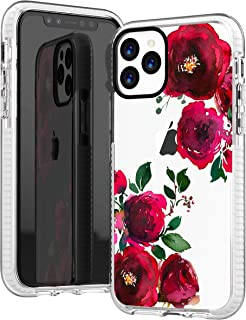 iPhone 11 Pro Clear Case,Sexy Trendy Hipster Retro Red Roses Blooms Spring Floral Flowers Hipster Cute Chic Case for Girls Women Soft Protective Clear Case with Design Compatible for iPhone 11 Pro