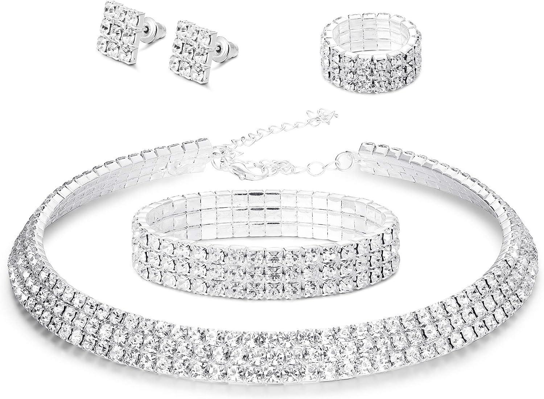 LOYALLOOK Bridal Jewelry Set Crystal Flower Leaf Earring Bracelet Necklace Jewelry Set for Women Costume Jewelry for Women Fashion Jewelry Sets