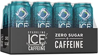 Sparkling Ice +Caffeine Blue Raspberry Sparkling Water, with Antioxidants and Vitamins, Zero Sugar, 16 fl oz Cans (Pack Of...
