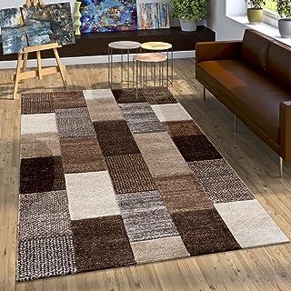 Paco Home Alfombra De Diseño con Contorno Cuadriculada En Marrón, Beige Gris Y Crema, tamaño:80x150 cm