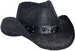 Vamuss Black Straw Cowboy Hat for Men, Faux Leather, Longhorn, Shapeable Brim