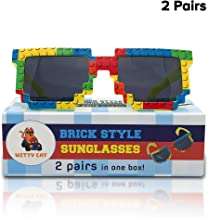 2 Pairs Brick-Theme UV Protected Sunglasses in Fun Gift Box. Build in Style! Kids Family Boys Girls Party Neon Toy Building Shades Lens Bulk Pool Beach Color Wayfarer Wholesale Retro