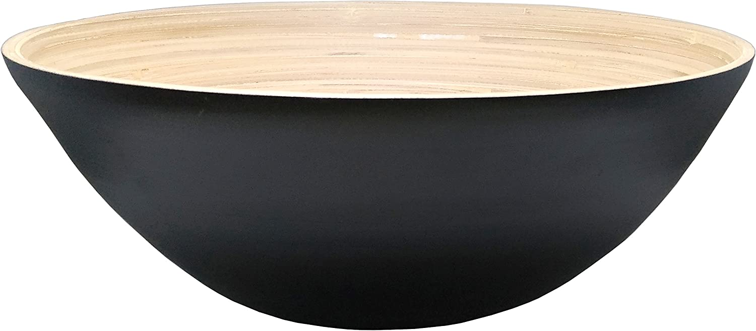 Black Ann Lee Core Wooden Bamboo Extra Large Serving Bowl