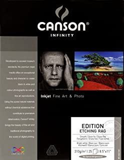 Canson Infinity Edition Etching Rag Fine Art Paper, Acid Free for Printmaking, 8.5 x 11 Inch, Bright White, 25 Sheets