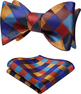 Men's Untied Plaid Check Bowtie Woven Self Tie Bow tie and Pocket Square Set