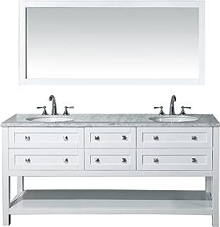 Stufurhome Marla 72 inch Double Sink Bathroom Vanity with Mirror in White