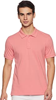 Amazon Brand - Symbol Men's Solid Regular Polo Shirt (SS19PLS1_Candle Pink L)