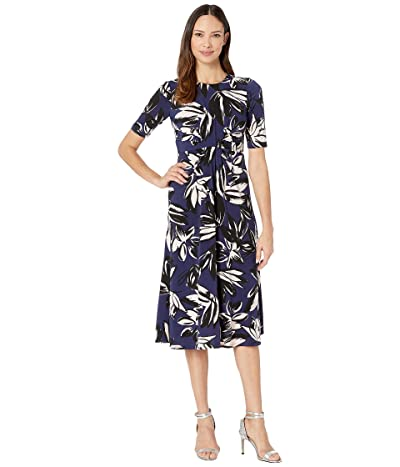 Vince Camuto Printed Ity Midi Dress w/ Front Draping (Navy Multi) Women