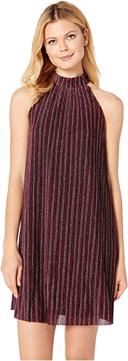 Mock Neck Sleeveless Metallic Stripe Knit Dress