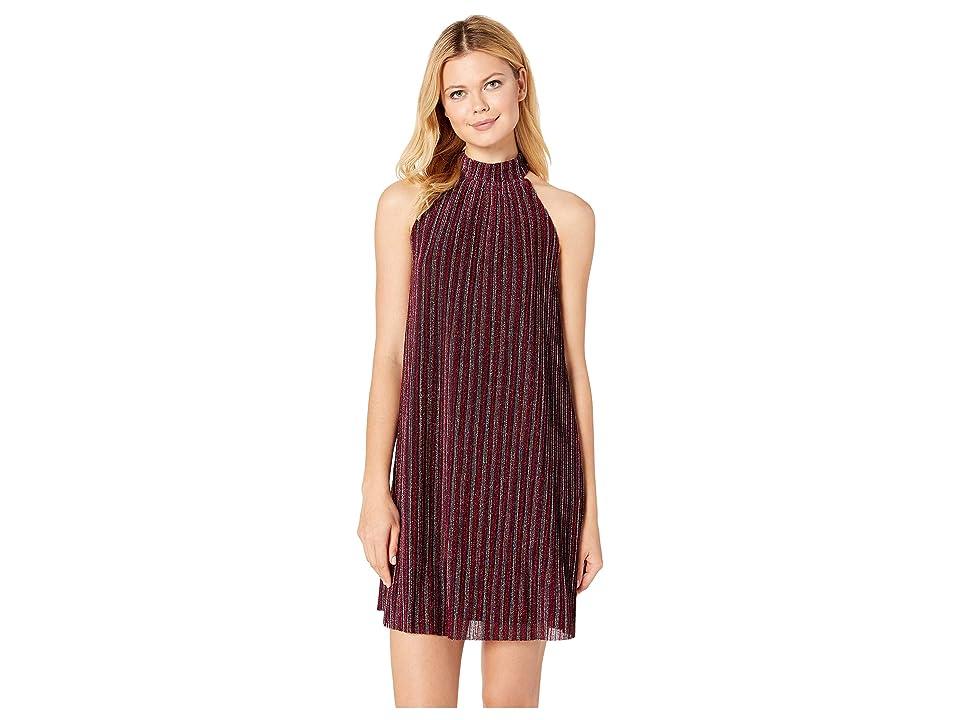 eci Mock Neck Sleeveless Metallic Stripe Knit Dress (Fuchsia) Women