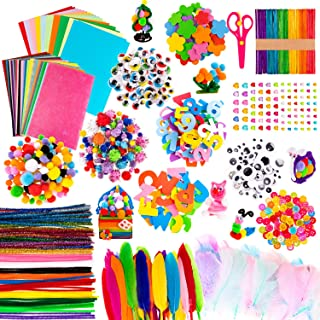 Whaline 1050 PCS Art Craft Kit Supplies 17 Styles Pipe Cleaners Pompoms Wiggle Googly Eyes Foam Flowers Letters Constructi...