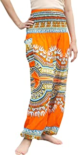 Raan Pah Muang Brand Smock Waist Rayon African Dashiki Art Summer Harem Baggy Pants