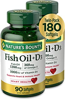 Fish Oil + D3 by Nature's Bounty, Dietary Supplement, Supports Heart and Immune Health, 1200mg Fish Oil with 360mg Omega-3...