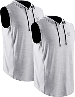 Neleus Men's Running Tank Tops 3 Pack Sleeveless Workout Athletic Shirts with Hoods