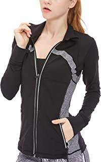 Women's Running Shirt Full Zip Workout Track Jacket with Thumb Holes