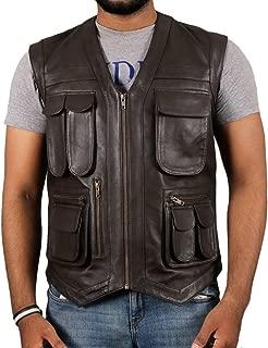 Laverapelle Men's Jurassic World Chris Pratt Owen Grady Genuine Leather Vest (Black, Vaist) - 1503849