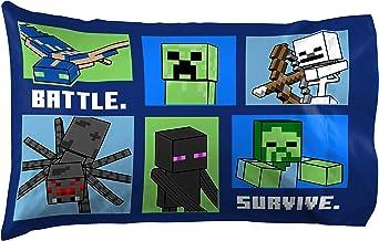 كيس وسادة واحد من Jay Franco Minecraft Explore Create Battle Survive 1 - للأطفال على الوجهين فائق النعومة - يتميز الفراش ب...