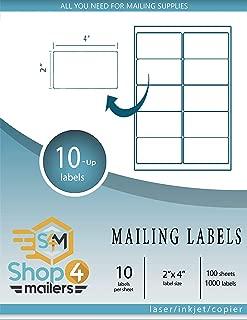 Shop4Mailers 10 张装白色发货标签 5.08 厘米 x 10.16 厘米 100 Sheets 白色