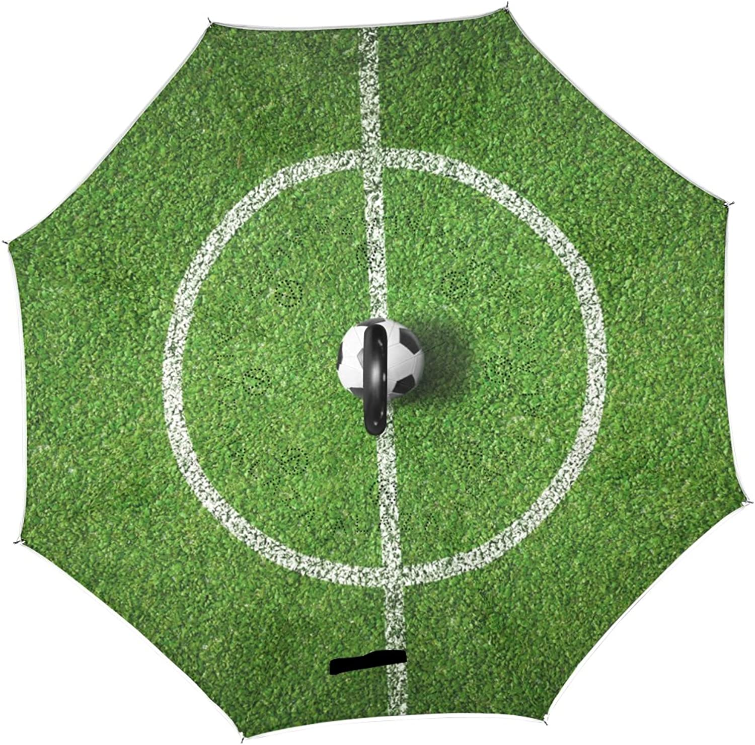 ALAZA Soccer Field Center American Football Ingreened Umbrella Double Layer Windproof Reverse Folding Umbrella for Car With C-Shape Handle