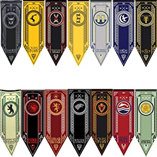 GoT X-Large Tournament Banners 14pc. Complete Enthusiast Set | All Houses | 18'' x 60'' (45cm x 154cm) | - House Stark, Lannister, Targaryen, Baratheon, Night's Watch & More | Double Sided Print