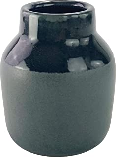 Symmetric Matrix Ceramic Vase for Home Decor - Dark Grey Flower Vases for Shelf, Mantle or Table - Elegant Living Room Decorations for Tables - Decorative Home Accents and Unique Centerpieces