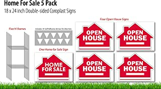 Open House (4), Home For Sale (1) - Real Estate Signs 5 Pack - 18 x 24 inch Yard Sign Kit - 5 H-Stakes - 10 Vinyl Arrow Stickers - 5 Double Sided Coroplast Yard Signs – 2 Designs