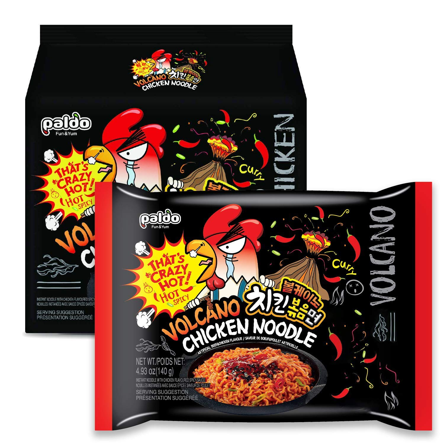 PALDO FUN & YUM Volcano Hot & Spicy Chicken Flavored Instant Ramen, 4.93 Ounce (Pack of 4)