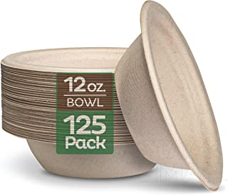 100% Compostable 12 oz. Paper Bowls [125-Pack] Heavy-Duty Quality Natural Disposable..