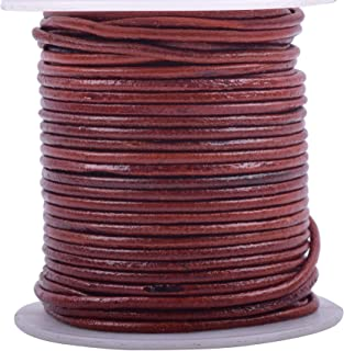 KONMAY 25 Yards Solid Round 1.5mm Distressed Brown Genuine/Real Leather Cord Braiding String (1.5mm, Distressed Brown)
