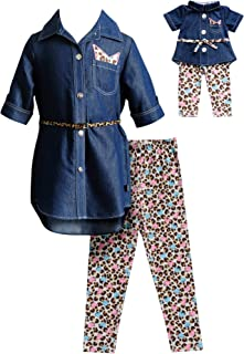 Dollie & Me Girls' Denim Top with Legging, Belt and Matching Doll Outfit