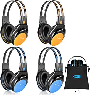 SIMOLIO 4 Pack of Car Kids Headphones with Adjustable 75/85/94dB Volume Limited, Wireless DVD Headphones, 2 Channel IR Wireless Car Headphones, Infrared Wireless Headsets for Vehicle Entertainment