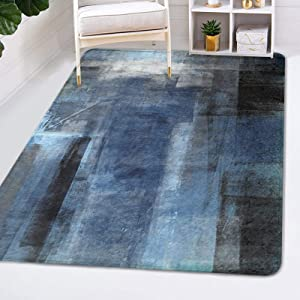 Area Rug for Living Room, Blue Brown Abstract Painting Grey Area Carpet for Bedroom, Nursery Indoor Rugs Floor Carpet Non-Slip Play Mat for Kids Girls Room Modern Home Decor, 3 x 5 ft