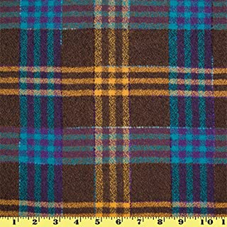 Wool Plaid Fabric by the Yard Brown w/ Turquoise and Camel Stripes (Winter Coat)