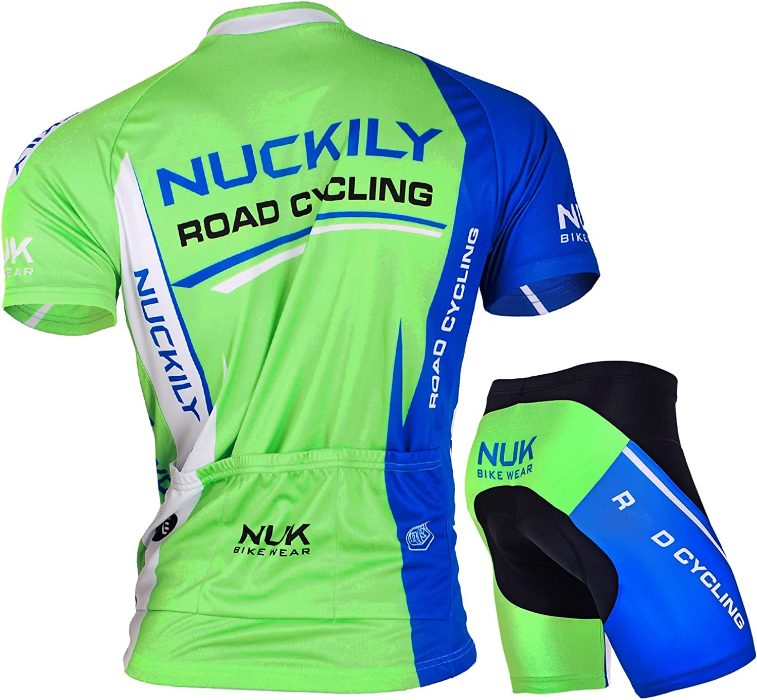 NUCKILY Men Cycling Suits Short Sleeve Bicycle Jersey and Shorts Set Summer