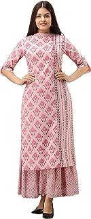 FABRIC FITOOR Women's Cotton Gold Print Straight Kurta With Sharara Set (Baby Pink)