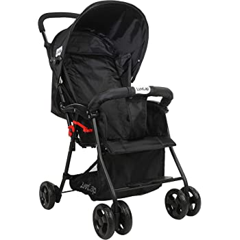 LuvLap Apollo Stroller/Pram, Easy Fold, for Newborn Baby/Kids, 0-3 Years (Black)