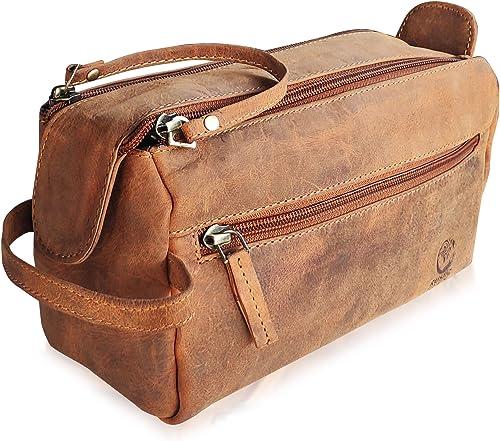Handmade Buffalo Genuine Leather Toiletry Bag Dopp Kit Shaving and Grooming Kit for Travel ~ Men Women ~ Hanging Zipp...