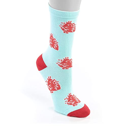 Mid Calf Cut Women's Socks – Anatomical Heart Nurse Socks – Premium Quality Cotton & Spandex – Comfortable & Lightweight - Perfect for Nurses, Doctor – One Size Fits All