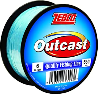 Zebco Outcast Monofilament Fishing Line, Low Memory and Stretch with High Tensile Strength