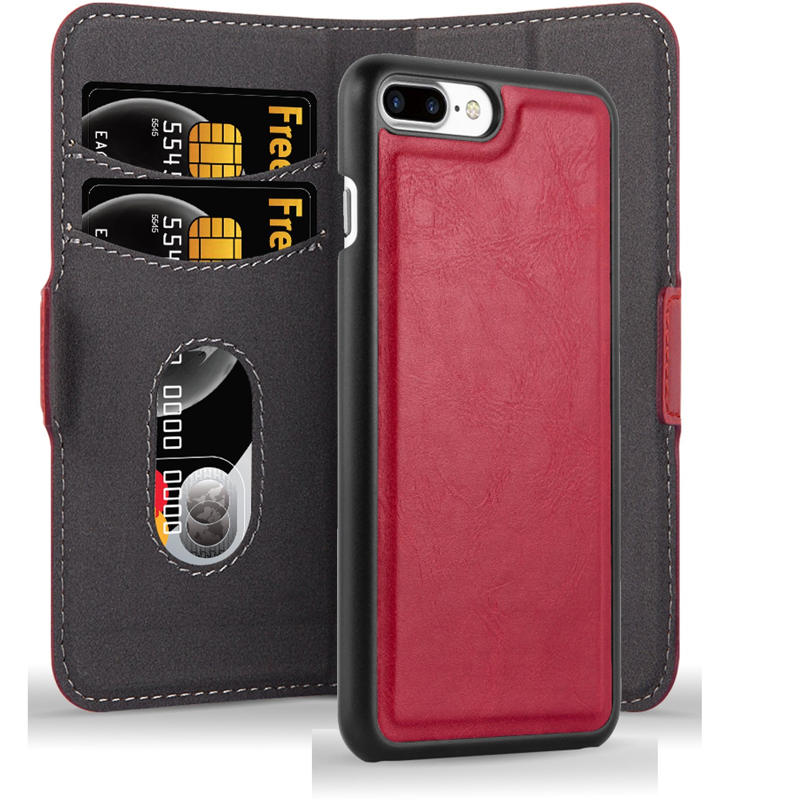 Cadorabo Apple iPhone 8 Plus / 7 Plus / 7S Plus Funda de Cuero Sintético 2 EN 1