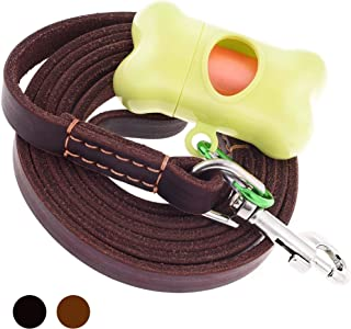 ADITYNA - Leather Dog Leash 6 Foot - Strong and Soft Leather Leash for Small or Medium Dogs - Heavy Duty Training Leash