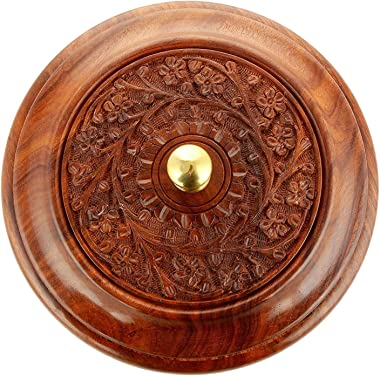 Aisha Craft House Wooden Handcrafted Chapati Box Handmade Stainless Steel Bread Casserole with Engraved Design for Serving Fo