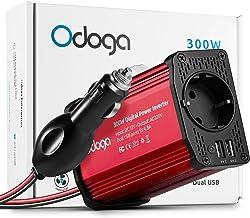 Odoga Inversor de Corriente para Coche de 300W, convertidor de 12V de CC a 220V de CA con Puertos Doble USB 4.8A - Carga tu Ordenador portátil, iPad, iPhone, Tablet, Consolas y Otros