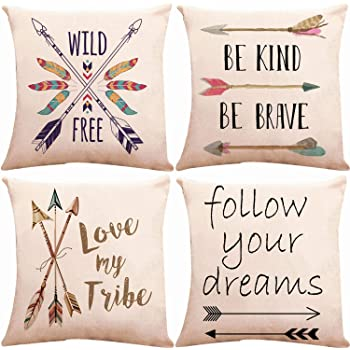 ZUEXT Decorative Boho Arrows Throw Pillow Covers 18 x 18 Inch 2 Side Print with Blessed Words Wild & Free Follow Your Dreams, Set of 4 Outdoor Cotton Linen Spirit Pillowcases for Couch Home Deocr