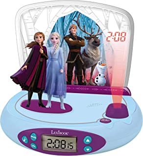 Lexibook Disney Frozen La Reine des Neiges 2 Elsa & Anna, Réveil projecteur avec Sons, Veilleuse intégrée, Projection de l...